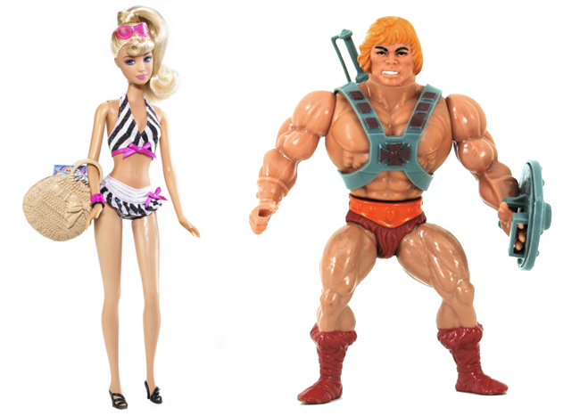 Barbie y He-Man comparativa cuerpos